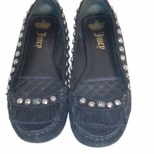 JUICY COUTURE size 6 suede black moccasins flats